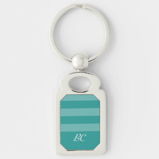 Monogrammed Peacock Colored Monochromatic Stripes Keychains