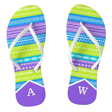 Monogrammed Peacock colors sewing stitches Flip Flops
