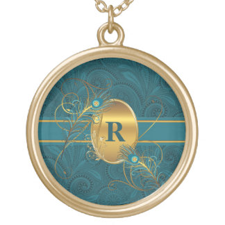 Monogrammed Peacock in Teal and Gold Feathers Round Pendant Necklace