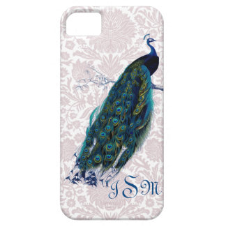 Monogrammed Peacock on Pink Damask iPhone SE/5/5s Case