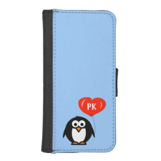 Monogrammed penguin cartoon iPhone case