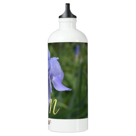 Monogrammed Periwinkle Iris Floral Bottle