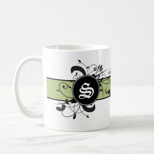 Monogrammed personalized fancy flourish coffee mug zazzle - Fancy travel coffee mugs ...