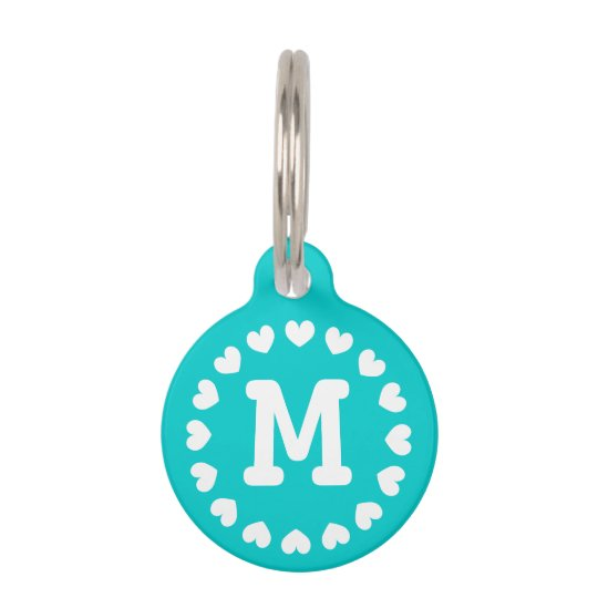 5d550043586b Monogrammed pet tag with hearts for dogs and cats | Zazzle.com