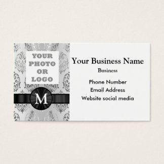 Monogrammed photo template silver gray damask business card