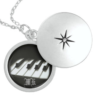Monogrammed Piano Sterling Silver Locket Necklace