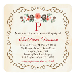 MONOGRAMMED PINECONE LAUREL CHRISTMAS DINNER PARTY 5.25X5.25 SQUARE PAPER INVITATION CARD