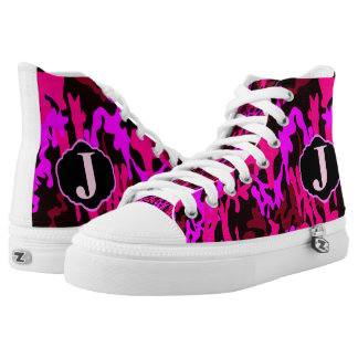 MONOGRAMMED PINK AND BLACK CAMO HI TOP SNEAKERS PRINTED SHOES