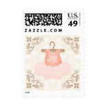 MONOGRAMMED PINK AND GOLD BALLERINA TUTU POSTAGE STAMPS