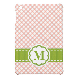 Monogrammed Pink and Green Gingham iPad Mini Covers