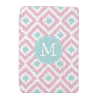 Monogrammed Pink and Mint Diamond Ikat Pattern iPad Mini Cover