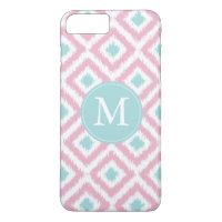 Monogrammed Pink and Mint Diamonds Ikat Pattern iPhone 7 Plus Case