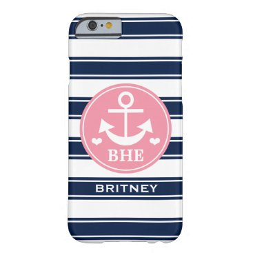 Beach Themed Monogrammed Pink and Navy Anchor Barely There iPhone 6 Case