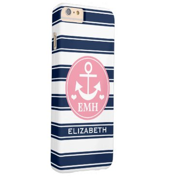 Beach Themed Monogrammed Pink and Navy Anchor Barely There iPhone 6 Plus Case