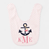 MONOGRAMMED PINK AND NAVY ANCHOR HEART BABY BIB