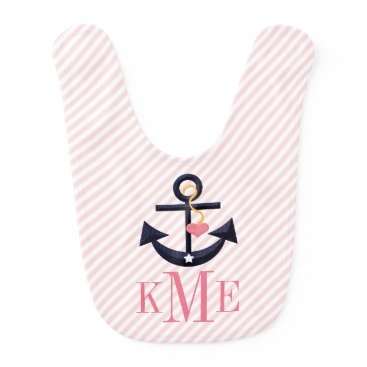 Beach Themed MONOGRAMMED PINK AND NAVY ANCHOR HEART BABY BIB
