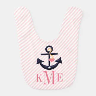 MONOGRAMMED PINK AND NAVY ANCHOR HEART BIBS