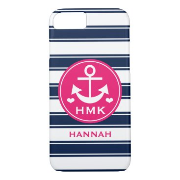 Beach Themed MONOGRAMMED PINK AND NAVY ANCHOR iPhone 8/7 CASE