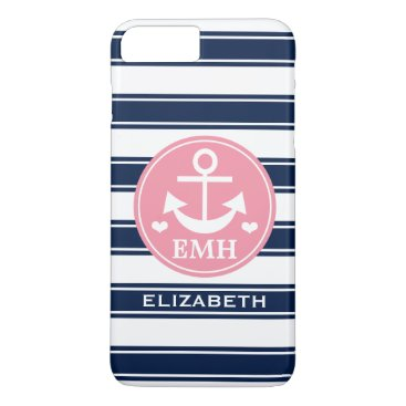 Beach Themed Monogrammed Pink and Navy Anchor iPhone 8 Plus/7 Plus Case