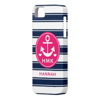 MONOGRAMMED PINK AND NAVY ANCHOR iPhone SE/5/5s CASE