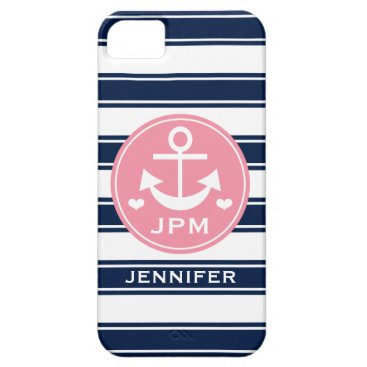 Beach Themed Monogrammed Pink and Navy Anchor iPhone SE/5/5s Case