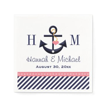 Beach Themed Monogrammed Pink and Navy Anchor Nautical Wedding Paper Napkin