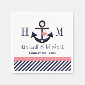 Monogrammed Pink and Navy Anchor Nautical Wedding Standard Cocktail Napkin