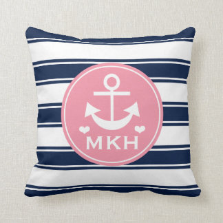 Monogrammed Pink and Navy Blue Anchor Throw Pillow