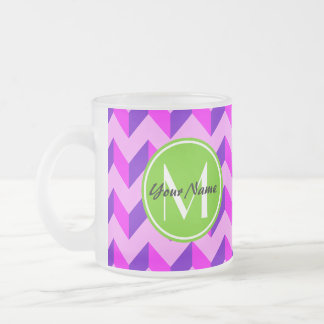 Monogrammed Pink and Purple Chevron Patchwork Frosted Glass Coffee Mug
