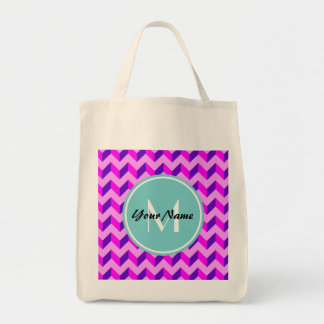 Monogrammed Pink and Purple Chevron Patchwork Tote Bag