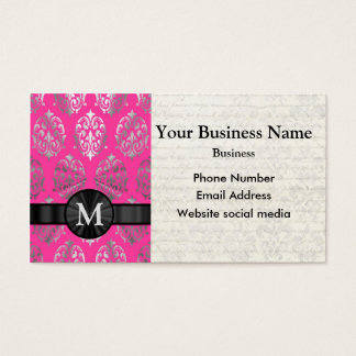 Monogrammed pink and silver damask business card