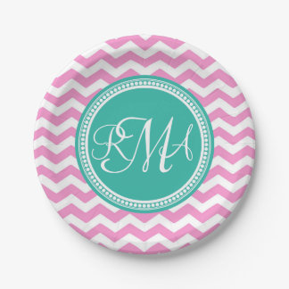 Monogrammed Pink and Teal Chevron Custom 7 Inch Paper Plate