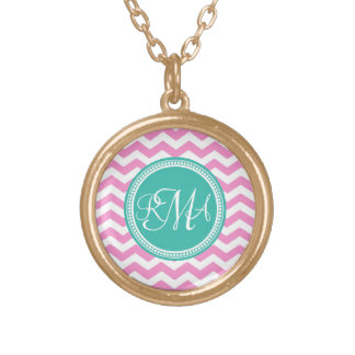 Monogrammed Pink and Teal Chevron Custom Gold Plated Necklace