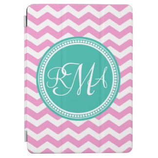 Monogrammed Pink and Teal Chevron Custom iPad Air Cover