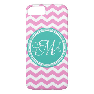 Monogrammed Pink and Teal Chevron Custom iPhone 7 Case