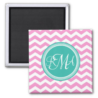 Monogrammed Pink and Teal Chevron Custom 2 Inch Square Magnet