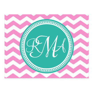 Monogrammed Pink and Teal Chevron Custom Post Cards