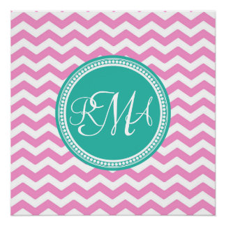 Monogrammed Pink and Teal Chevron Custom Poster