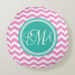 Monogrammed Pink and Teal Chevron Custom Round Pillow