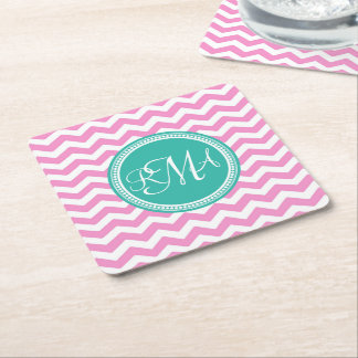 Monogrammed Pink and Teal Chevron Custom Square Paper Coaster