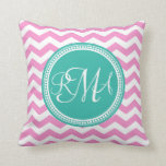 Monogrammed Pink and Teal Chevron Custom Throw Pillow