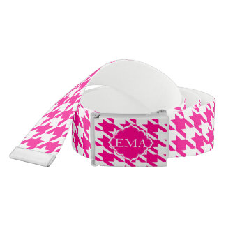 Monogrammed Pink And White Houndstooth Belt