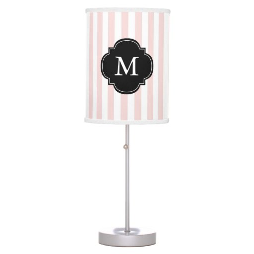 Monogrammed Pink and White Stripes Pattern Table Lamp