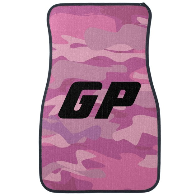 Monogrammed Pink Army Camo Camouflage Car Mat Set Zazzle