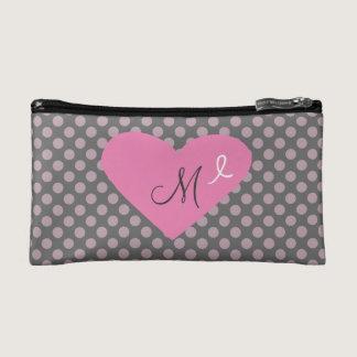 Monogrammed Pink Awareness Ribbon Gray and Pink Makeup Bag