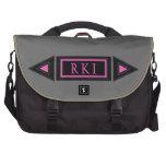 Monogrammed Pink Black and Gray Laptop Bag