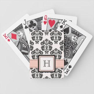 Monogrammed Pink Black Damask Bicycle® Playing Car Card Decks