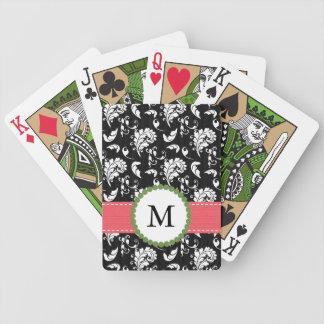Monogrammed Pink Black Damask Card Decks