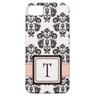 Monogrammed Pink Black Damask iPhone 5 Cases