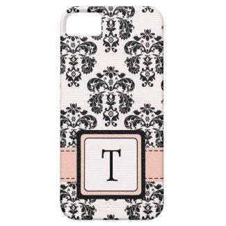 Monogrammed Pink Black Damask iPhone 5 Cases